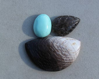 Cabochon set:  Sleeping Beauty Turquoise, Tourmaline and Black and white Petrified wood, natural stone cabochons for jewelry making