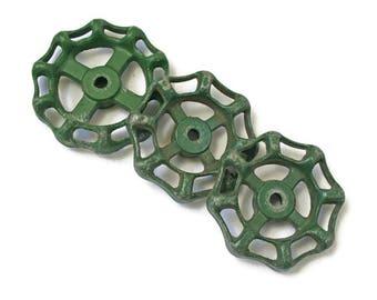Vintage Valves  / Three Large Green Water Faucet Knobs  /  Water Spigot Handle  /  Furniture Hardware  /  Repurpose Supplies