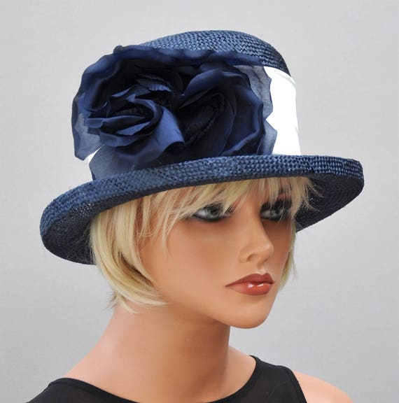 Kentucky Derby Hat, Wedding Hat, Ladies Navy Hat, Ascot Hat, Derby Hat, Formal Hat, Occasion Hat