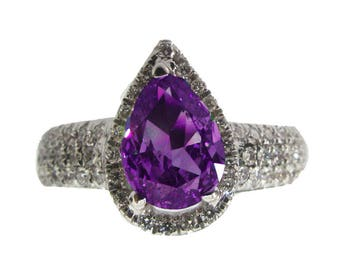 Pear shape Amethyst Pave Diamond Ring in 18K White gold