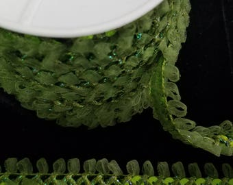 Sequins braid and organza sewing trim moss green for party, decor, embellishments and more 25 yards WHOLESALE