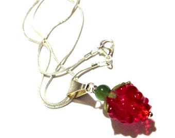 Red strawberry, glass pendant, 16 inch necklace