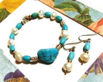 Turquoise and pearls, bracelet earrings, jewelry set, artisan jewelry, custom design, modern fashion, elegant women, handmade jewelry