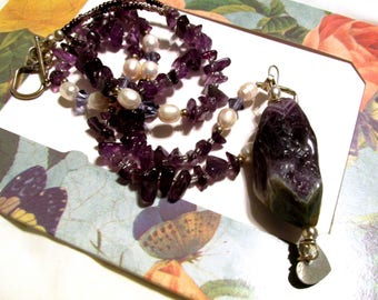 Amethyst nuggets, pendant necklace, 26 inches long, freshwater pearls