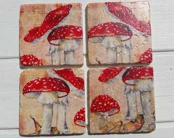 Toadstool Coaster Set of 4 Tea Coffee Beer Coasters
