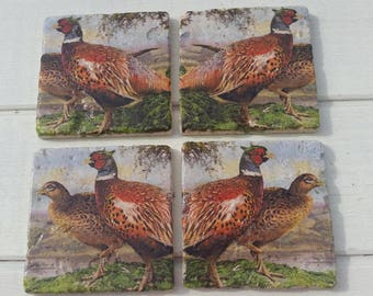Pheasants Set of 4 Tea Coffee Beer Coasters