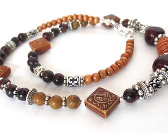 Men's Gemstone Necklace - Boho Silver and Brown Unisex Necklace - Red Tiger Eye - Detailed Silver Beading - Men's Wooden Bead Choker