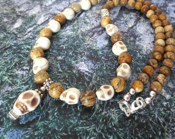 Beaded Skull Necklace - Goth Skull Jewelry - Silver & Brown Paintbrush Jasper Beads - Primitive Design - Tan and Brown Boho Jewellery