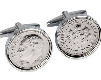 2006 American Dime coin cufflinks -Perfect 12th Anniversary Gift gift for men Gift for Husband genuine 2006 coin Handmade coin cuff links