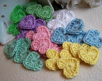 Crochet Hearts ~ Applique, Embellishment, Gift Wrapping, Packaging, Craft, Happy Mail, 5-pc