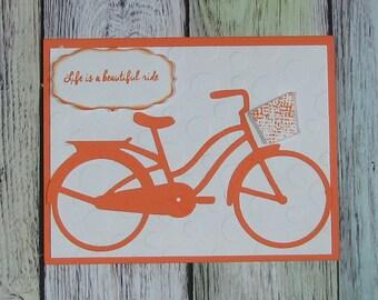 Orange Bicycle handmade card-CB81217-70