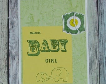 Green and Yellow Baby Girl Elephant Card-CB81217-68
