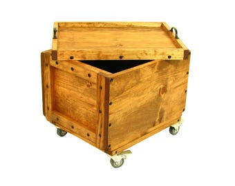 Wooden Box on Wheels, Rolling Wood Crate with Lid, Mobile Lidded Wood Box, Portable Storage & Organization