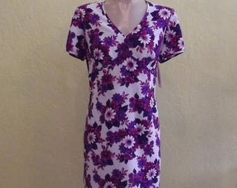 Clear Out Sale 1970s Purple Floral Day Dress Size Large 12/14,      Item 27524