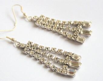 Vintage diamante earrings. Crystal drop earrings.  Baguette crystals.  Rhinestone earrings