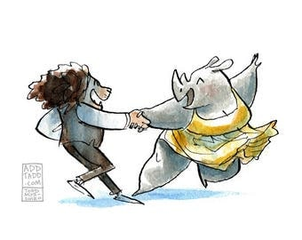 Valentines Art -- Dance Art -- Couple Love Dancing -- Lion and Rhino -- Fun Cute Art -- Valentines Day Art -- Digital Watercolor Print