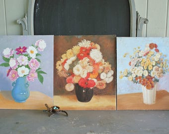 3 Vintage Oil Paintings of Lush Still Lifes of Flowers