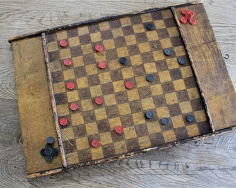 Authentic Antique 19th c. Primitive Folk Art Painted Checker Board Wall Hanging