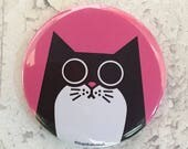 Cat Pocket Mirror, pink handbag mirror, hand pressed pink purse mirror, cosmetic mirror, cat lover gift