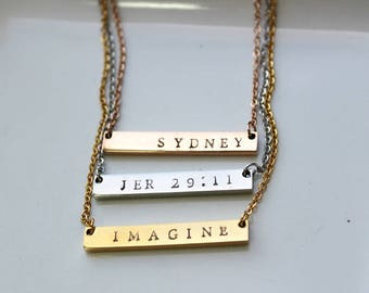 Custom Name Necklace. Bridesmaid Gift. Name Bar Necklace. Personalized Best Friend Necklace. Custom Name Jewelry. Christmas Gifts For Her.