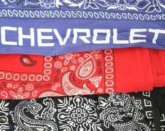 3 Vintage Bandana Scarves Lot: Red, Black, Blue one Chevorlet