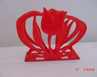 Vintage Sparkle-Ware Red Plastic Tulip Napkin Or Letter Holder  17 - 989