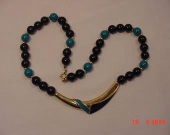 Vintage Black & Blue Plastic Bead Necklace  18 - 355