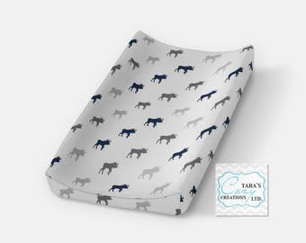 Moose Change Pad Cover- Navy Gray Minky Cover- Woodlands Bedding- Moose Nursery- Changing Pad Cover- Woodland Cover -  Ships in 1-3 Days