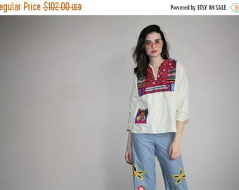 On SALE 45% Off - Vintage 1960s Rainbow Cat Embroidered White Oaxacan Ethnic Hippie Mexican Festival Floral Embroidered Peasant Blouse Top -