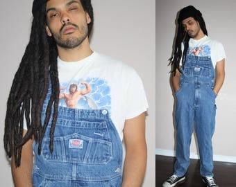 1990s Vintage Blue Jean Hip Hop Rap Denim Overalls - 90s VTG Overalls - 90s Pants - MV0399