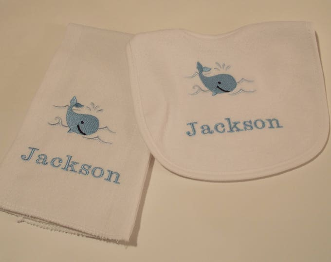 Whale baby bib and burp cloth - embroider whale baby gift - Personalized baby whale bib - monogrammed whale baby burp cloth - nautical baby