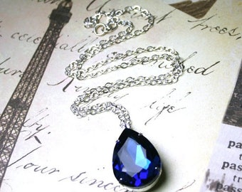 ON SALE Sapphire Blue Pear Shaped Vintage Jewel Pendant - Dark Blue Crystal Teardrop Necklace - Something Blue - Sterling Silver