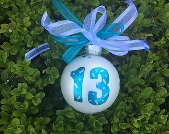 13 Birthday Ornament, Thirteenth Birthday, Teenager, Hand Painted, Personalized Christmas Bauble, Birthday Gift for Teen, Milestone Birthday