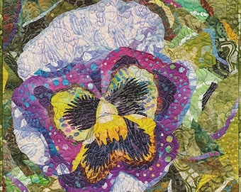 ON SALE Art Quilt Miniature Quilt Pansy Quilt Flower Quilt Collage Quilt Wall Hanging Fiber Art Textile Art Wall Tapestry Ready To Hang Wall