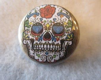 Sugar Skull Pin Back Button, Sugar Skulls, Skulls, Sugar Skull Magnet, Day Of The Dead,