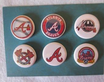 Atlanta Braves Pin Back Buttons, Pin Back Buttons, Atlanta Braves, Novelty Buttons, Novelty Magnets, Magnets
