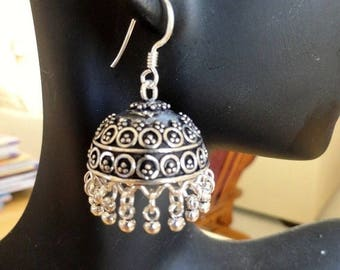 ON SALE Jaipur Jhumkas - J151 - Ornate Silver Jhumkas