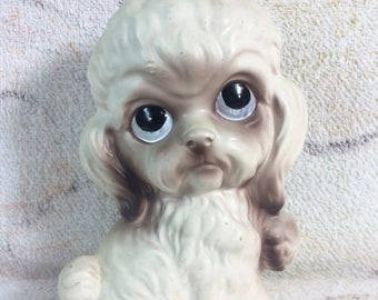20% SALE Sad Big Eye Puppy Ceramic Figurine 70s Kitsch