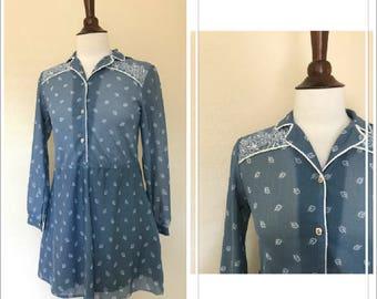 vintage sheer long sleeve western dress size S or M