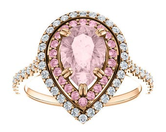Certified Pear Morganite Double Halo Ring