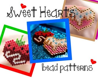 Sweet Hearts Bead PATTERNS, Chocolate Covered Strawberry & Cupcake Sprinkles