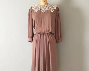 25% OFF SALE... mocha dress | lace collar semi sheer dress