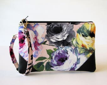 Grab and Go Wristlet, Everyday Wristlet, Smart Phone Wristlet, Small Zipper Pouch, Purse organizer, Floral Wristlet, Gift For Her