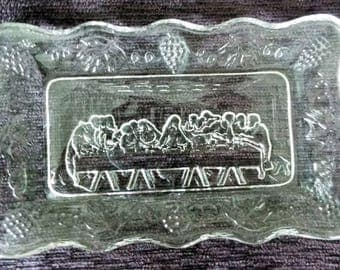 Vintage Tiara Indiana Glass Last Supper Dish