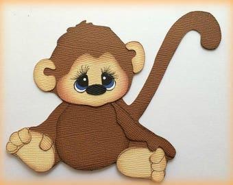 Adorable sitting monkey animal premade paper piecing 3d die cut by my tear bears kira