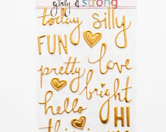 "Gold Puffy Word Stickers - May 2017 ""Girly and Strong"" collection"