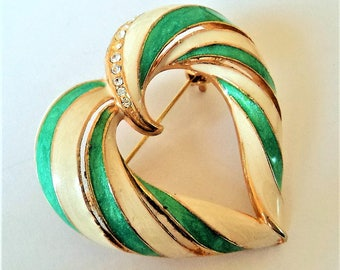 Signed C'Est Bien Heart Brooch... Bright Green Cream Enamel... Diamante & Goldtone Metal