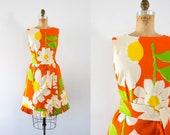 1960s Sunshine Ave cotton sunflower dress / 60s Malia