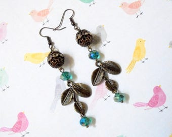 Teal Blue and Brass Leaf Earrings (3734)