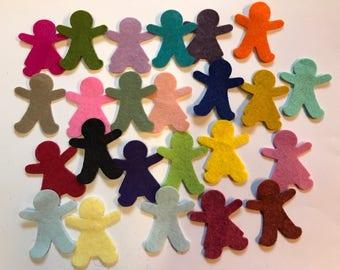 Wool Felt Gingerbread Girl & Boy Die Cut 24 - 1.5 inch tall Random Colored 4037 - Felt People - Kids Crafts - Felt Supplies - Felt Learning